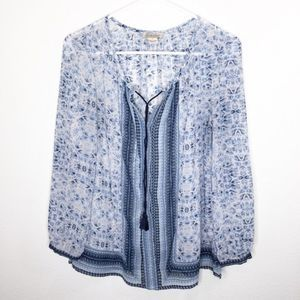 Lucky Brand Womens Blue Patterned Blouse Size S